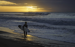 Kolohe Andino soaks in the sunrise.
