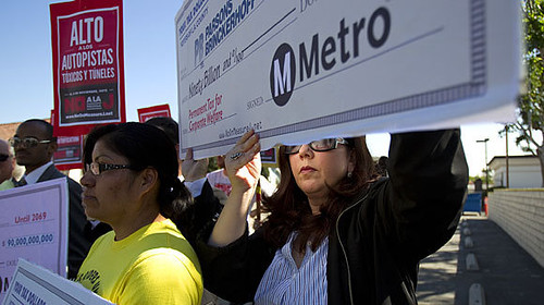 Protest against rail transit in Los Angeles