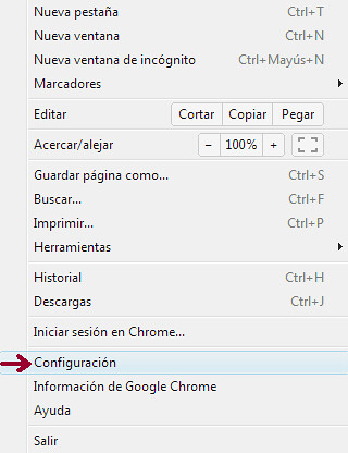 Configuración Google Chrome