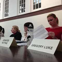 ERNC board members study  bike lane proposal.