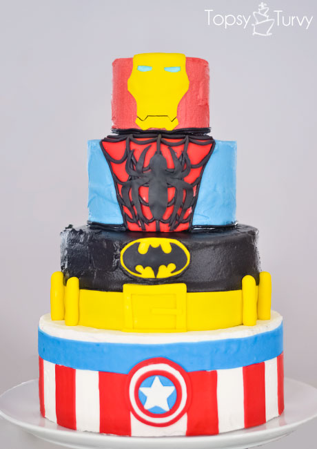 superhero-buttercream-cake-fondant-iron-man-spiderman-batman-captian-america