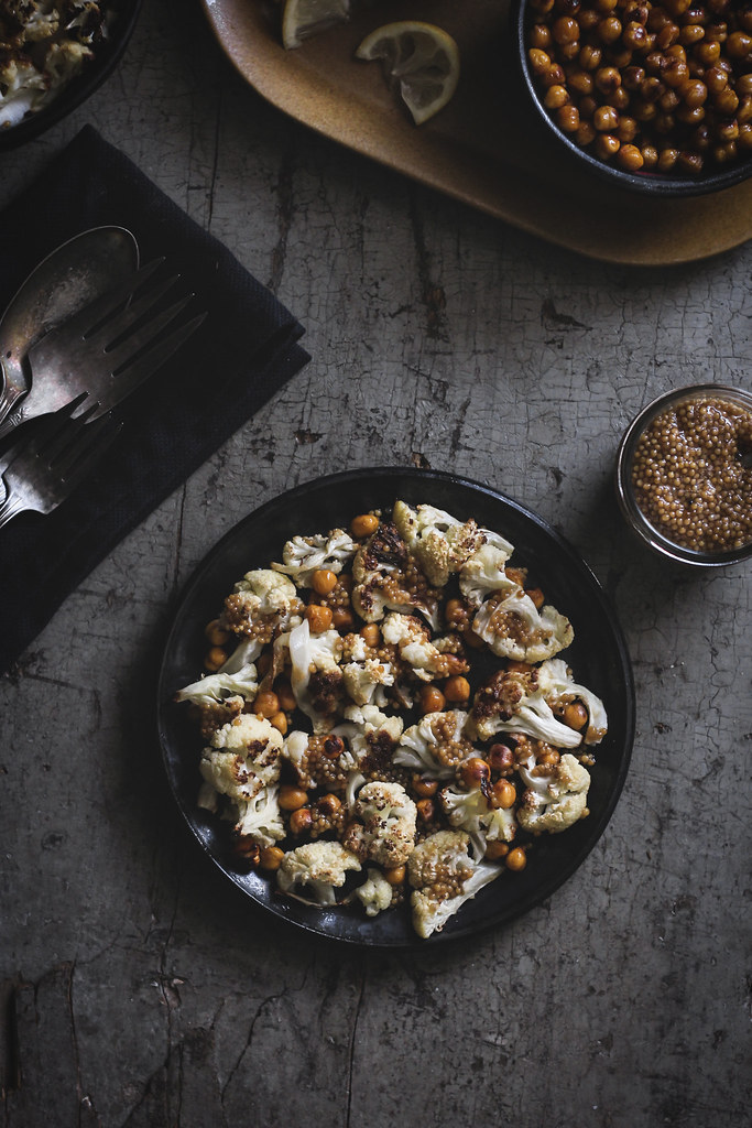 Sriracha-Roasted Chickpeas & Cauliflower with Pickled Mustard Seeds