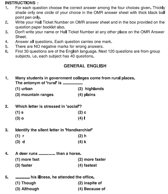 Aprdc Cet Sample Question Paper  Aglasem Admission