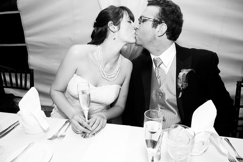 Smooching after the toasts
