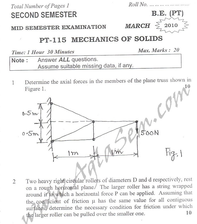 DTU Question Papers 2010 – 2 Semester - Mid Sem - PT-115