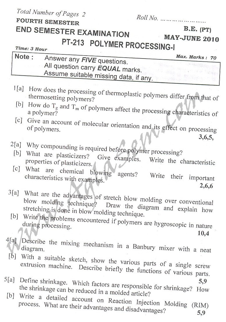 DTU Question Papers 2010 – 4 Semester - End Sem - PT-213