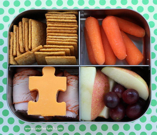 Lunchbots bento for 5th grade boy - puzzle cheese for autism