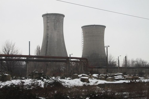Cooling towers at the Astra oil refinery in Ploieşti, Romania