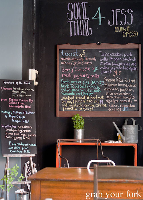 blackboard menu at Something for Jess cafe in Chippendale