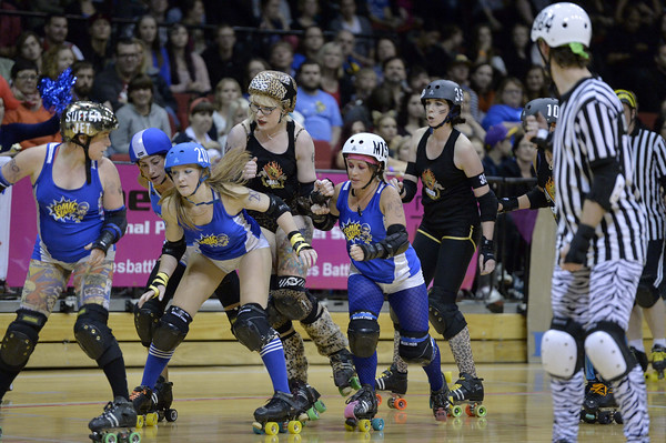 Roller Derby match between Smash Malice and Comic Slams