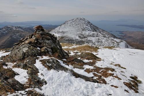 Sgurr na Ba Glaise summit cairn with Rois-Bheinn behind