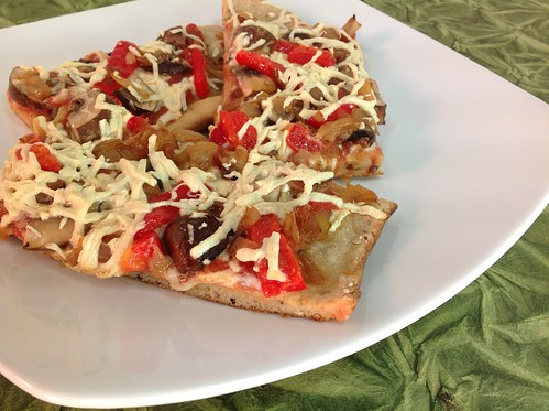 Caramelized Onion, Red Pepper, and Mushroom Pizza
