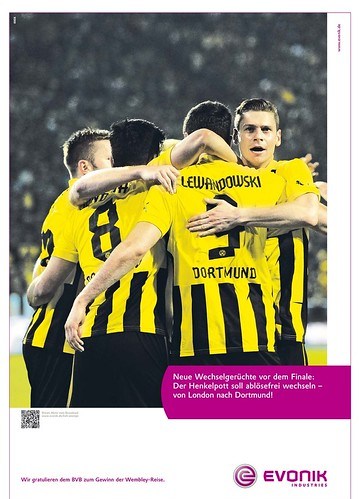Werbung von Evonik zu Borussia Dortmund: Neue Wechselgerüchte vor dem Finale: Der Henkelpott soll ablösefrei wechseln - von London nach Dortmund!
