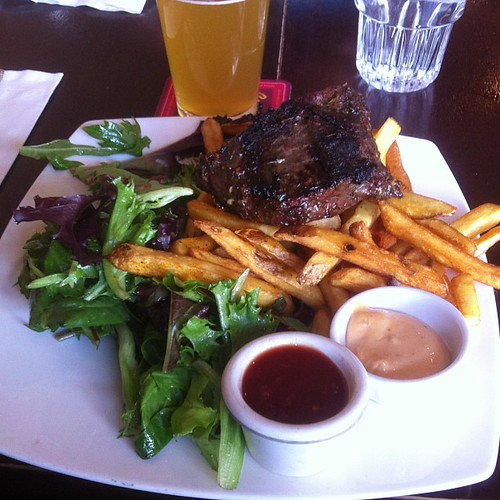 Steak and fries at the Sugarbowl #yegfood by raise my voice