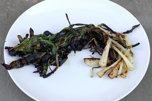 Grilled ramps by Eve Fox, the Garden of Eating blog, copyright 2013