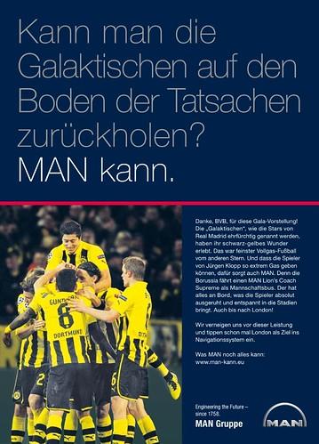 Werbung von MAN zu Borussia Dortmund (BVB): Kann man die Galaktischen auf den Boden der Tatsachen holen? MAN kann.