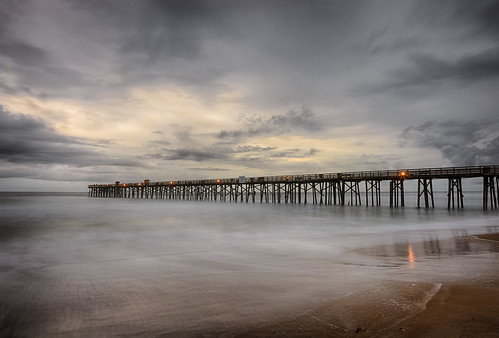 ocean longexposure sunset usa cloud reflection beach water weather night landscape pier dock lowlight florida cloudy shore centralflorida flaglerbeach architectureandbuildings