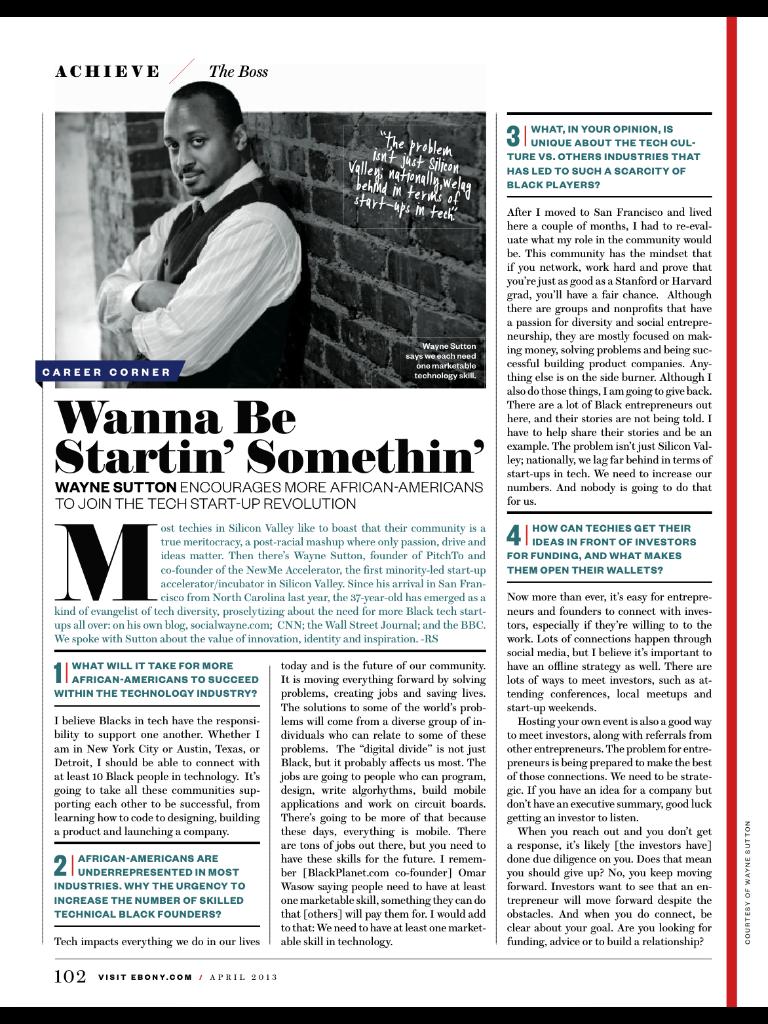 April 2013 - Ebony Magazine Feature