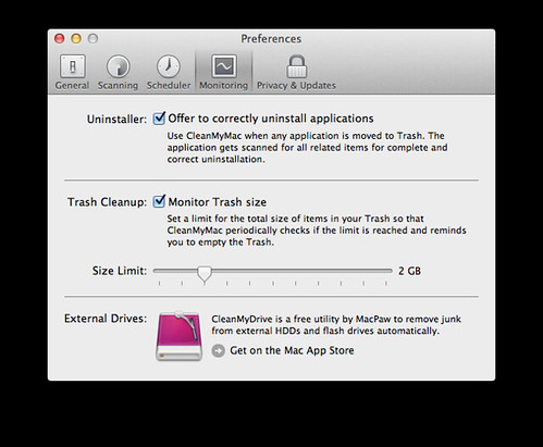 CleanMyMac 2 prefs