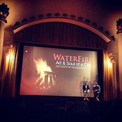 WaterFire creator @BarnabyEvans and producer Joe Rocco telling WaterFire stories at the last big screen showing.