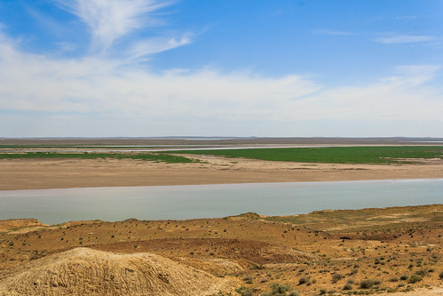 View over the river Amu Darya from Uzbekistan towards Turkmenistan