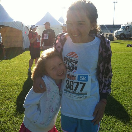 "Ready to race!  I had a chat this morning with Kaylie about how this race was about racing herself, going for her personal best, and not worrying about the other runners. Liliana butted in and said, ""No! A race is about beating people! You have to beat pe"