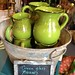 Green Glass Pitchers at Nutmeg shop