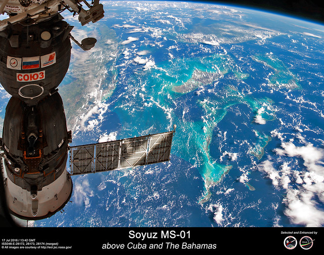 Soyuz MS-01 - above Cuba and The Bahamas