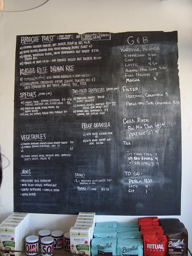 Sqirl with G & B Menu Board