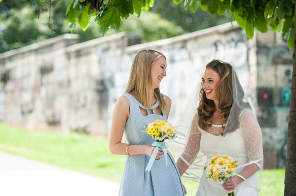 review bridesmaid dress blue yellow white bouquet
