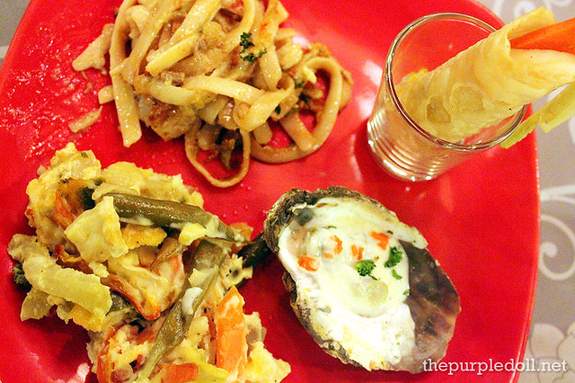 Bicol Express Pasta, Egg Salad, Baked Oyster with Bechamel Sauce, and Vegetable Pritata