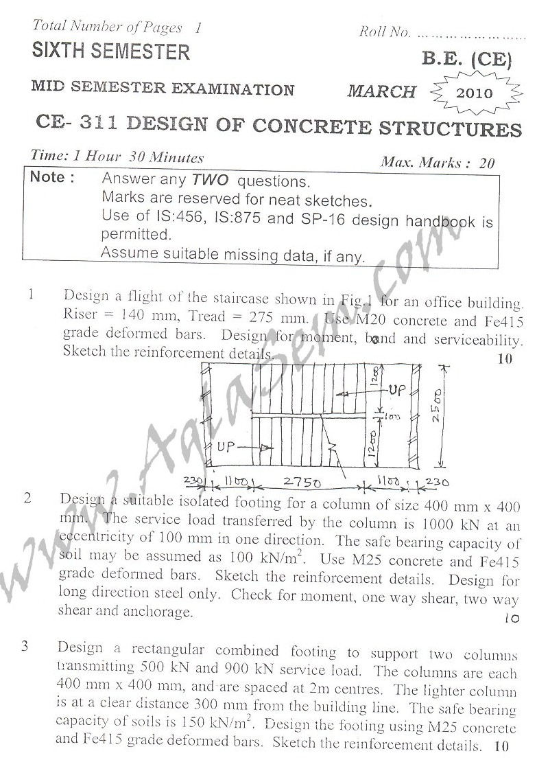 DTU Question Papers 2010 – 6 Semester - Mid Sem - CE-311
