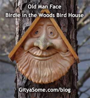 Old Man Face Birdie in the Woods Bird House