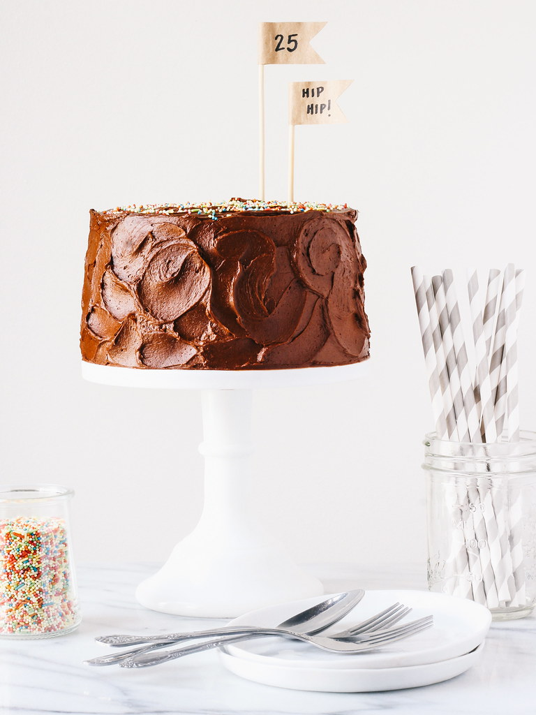 Yellow cake with creamy chocolate frosting | a birthday cake | Oh ...
