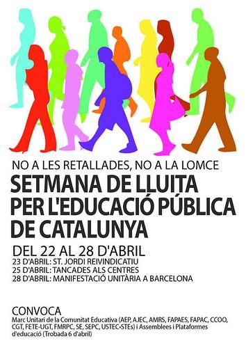 Cartell setmana de lluita per l´educació pública de Catalunya del 22 al 28 d´abril