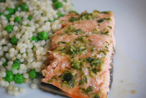 Ginger scallion sauce on salmon