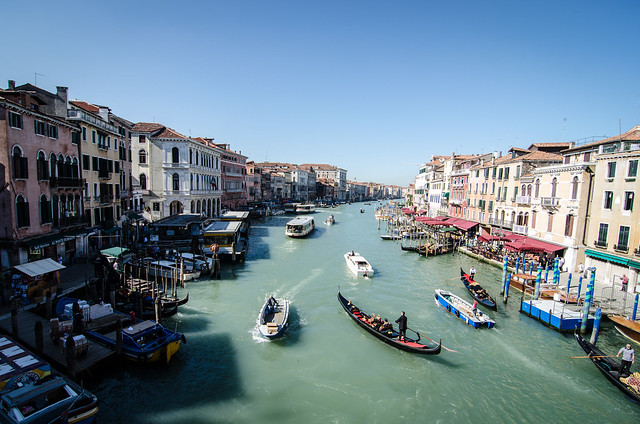 A morning view of the grand canal from the Rialto Bridge in Venice.