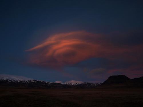 blue sunset red sky cloud mountains landscape march iceland dusk búrfell mýrdalsjökull 2013