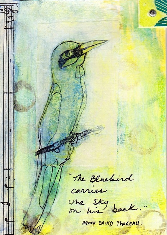 blue bird mail art