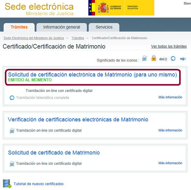 Trámite Certificado de Matrimonio