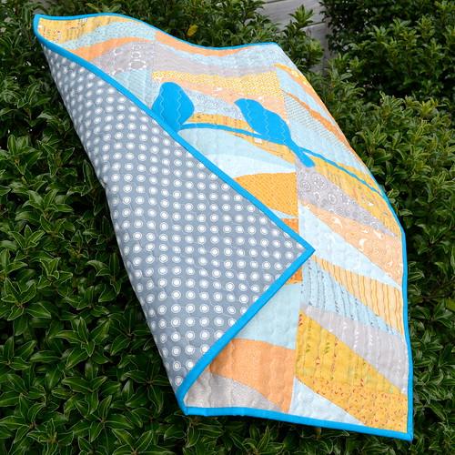 blue orange baby quilt