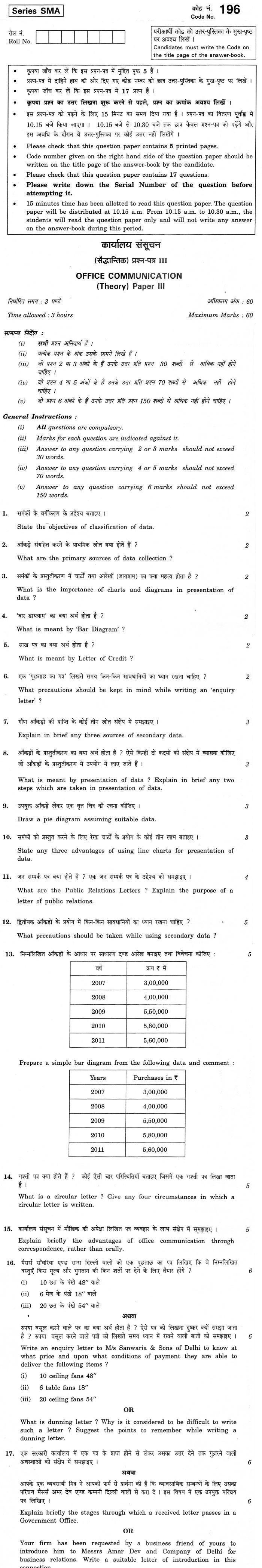 CBSE Class XII Previous Year Question Paper 2012 Office Communication Paper III