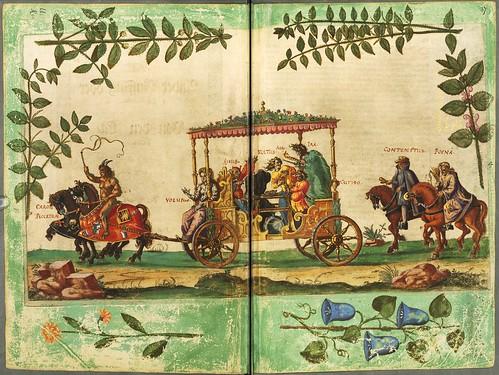 021-Escena de una cabalgata-Descripción del bautismo de la dama Isabel de Hesse-1598-Biblioteca Estatal de Baviera