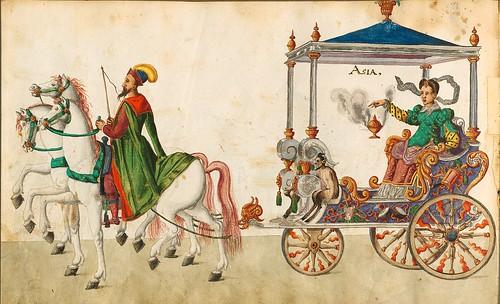013- Cabalgata sobre los continentes-Asia-Descripción de las ocho festividades celebradas durante los juegos…1596-Biblioteca Estatal de Baviera