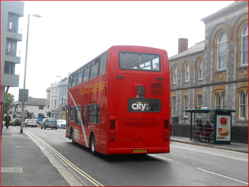 Plymouth Citybus Ex-Stockwell PVL 434 X546EGK is seen on her first day of service on the 127 School service to Tavistock.
