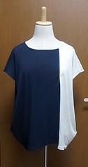 紺ホワイトブロックTシャツ