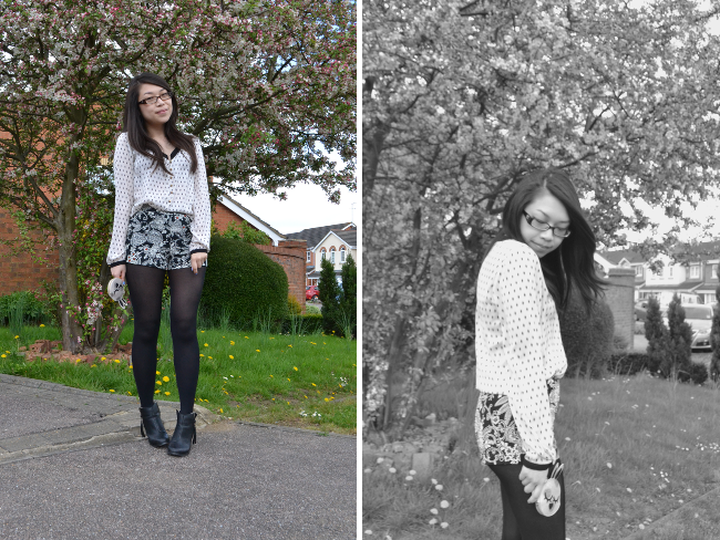Daisybutter - UK Style and Fashion Blog: what i wore, apple blossom tree, shopstyle, topshop, print clash, ethnic prints, topshop, zara, marc by marc jacobs