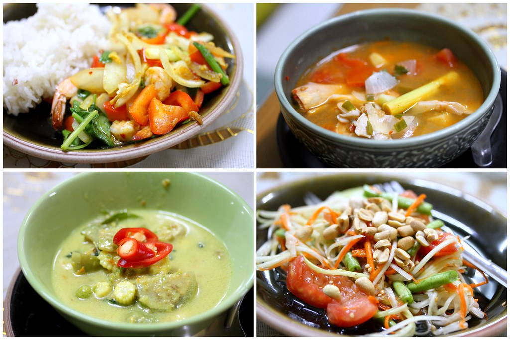 I cooked stir fried prawns with curry powder, tom yam soup, green curry and papaya salad