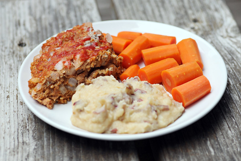 Pressure Cooked Meatloaf with Cheddar Smashed Potatoes