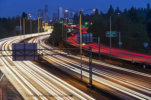 seattle longexposure nightphotography curves lighttrails bluehour seattleskyline interstate5 d600 nikond600 seattlebluehour